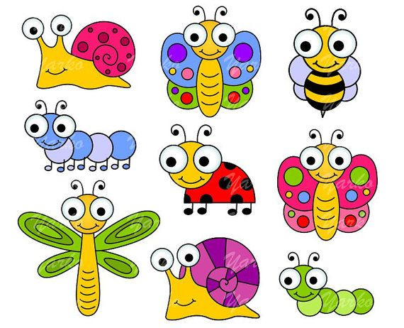 Cute Bugs Clip Art, Insects Clipart, Ladybug, Snail, Dragonfly, Fly.