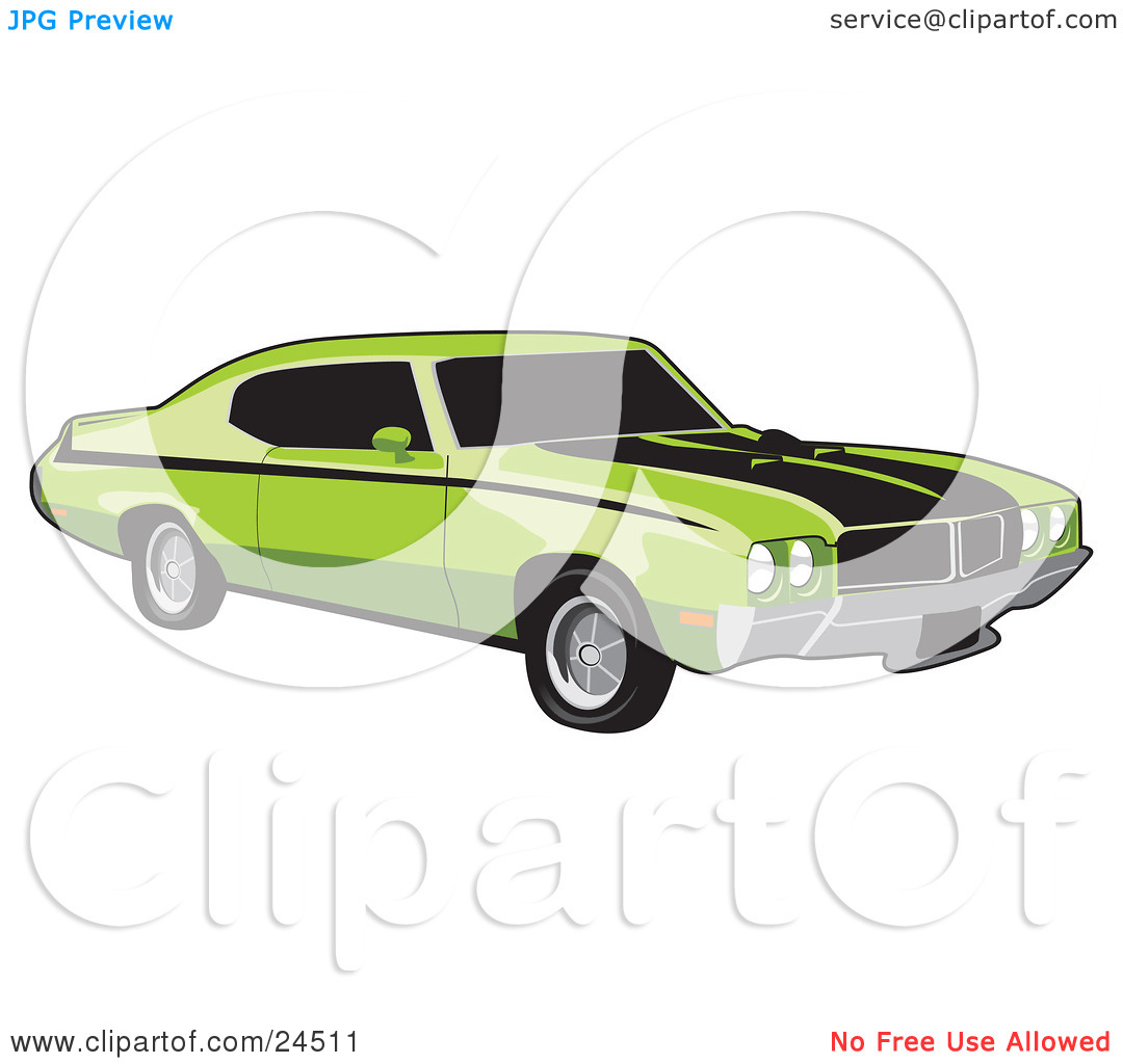Clipart Illustration of a Green 1970 Buick Muscle Car With Black.