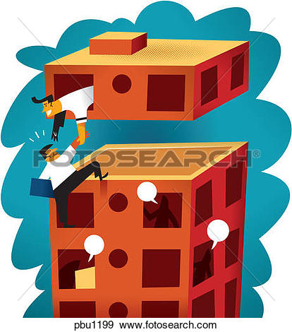 Stock Illustration of A man being helped up to the top of a.