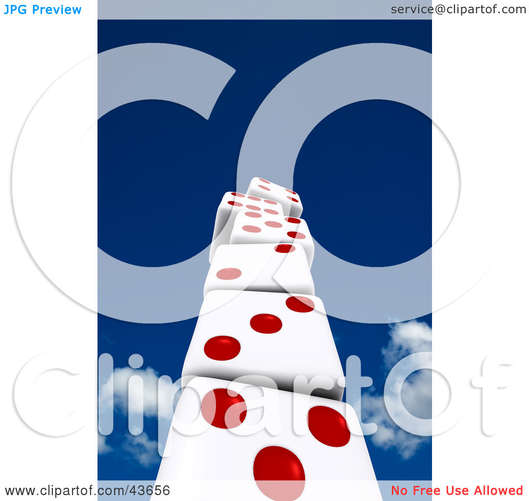 Clipart Illustration of a 3d Stack Of Red And White Dice Building.