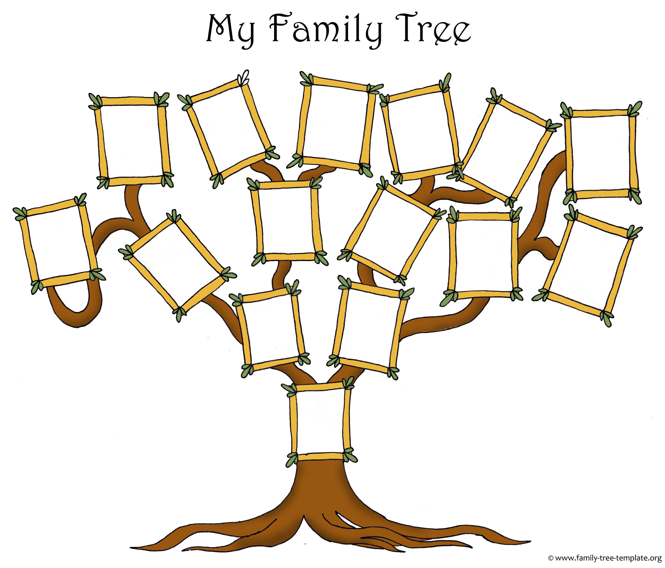 Original free family tree template with picure frames for family.
