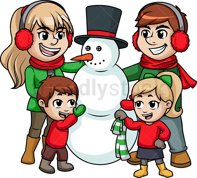 Families Building Snow Man Png & Free Families Building Snow.