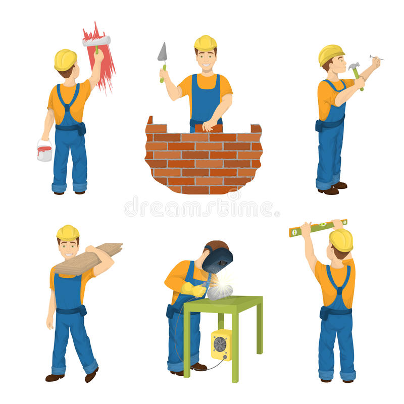 Builders Construct Stock Illustrations.