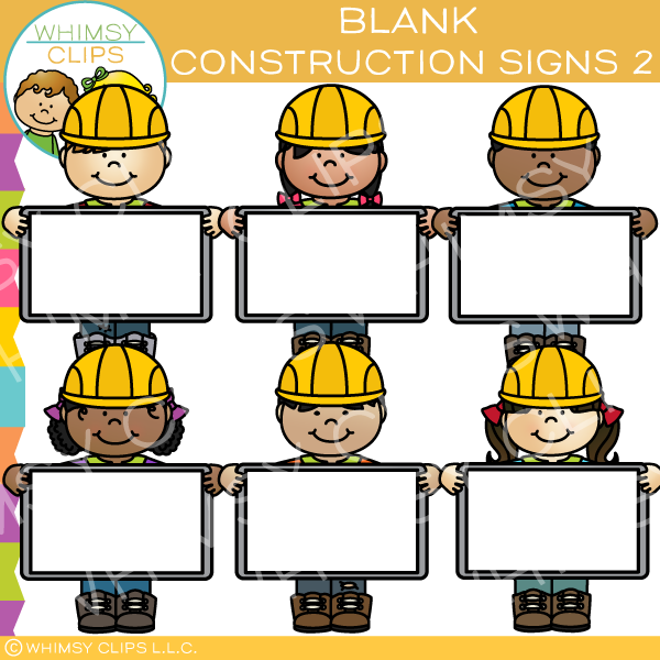 Builders with Blank Signs Clip Art.