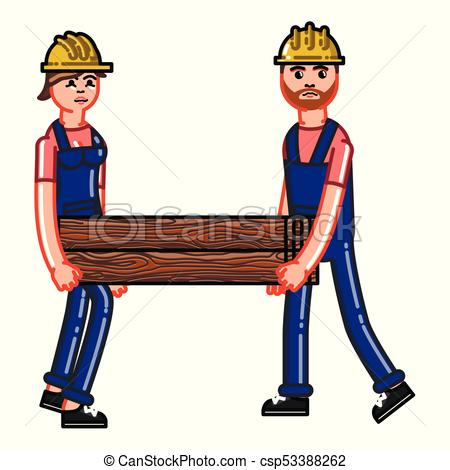 Two builders bears a timber.
