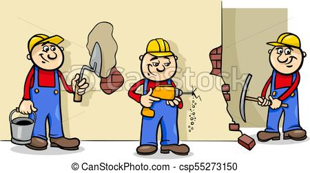 manual workers or builders characters group.