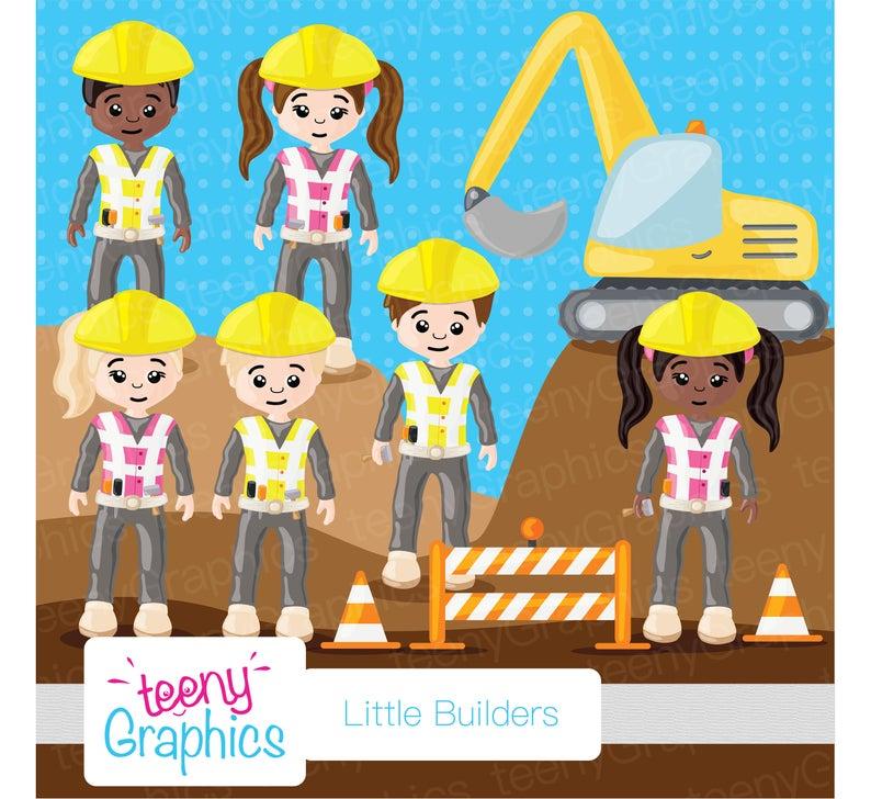Little Builders Clip Art, Small Commercial Use, Kids, Little, Builders,  Building, Role.