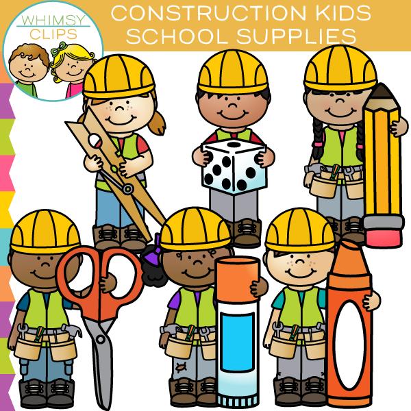 Construction School Supplies Clip Art.