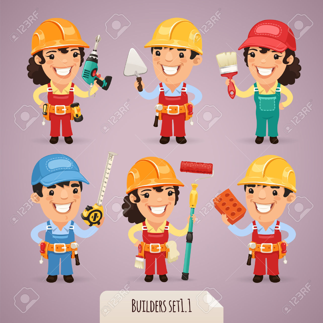 Builders Cartoon Characters Royalty Free Cliparts, Vectors, And.