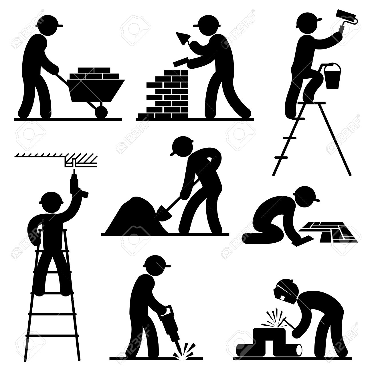 Set Black And White Vector Icons Of Builders Royalty Free Cliparts.