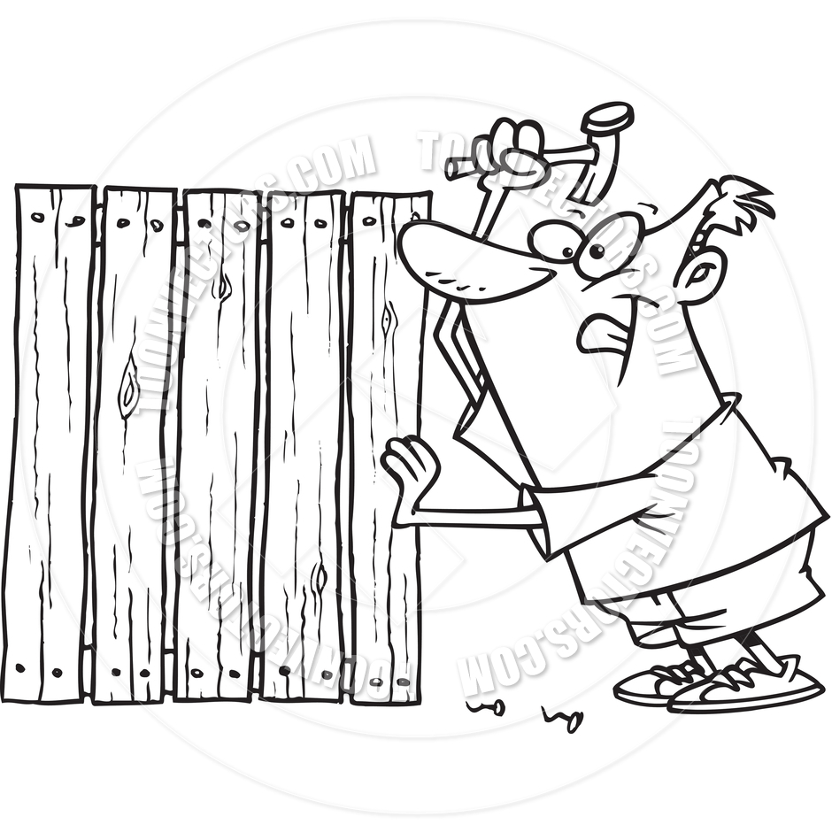Cartoon Man Building Fence (Black and White Line Art) by Ron.