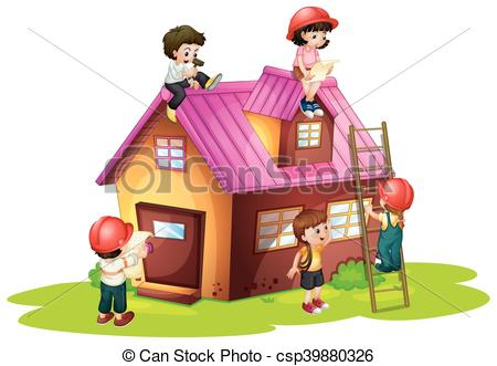 Children fixing and building house.