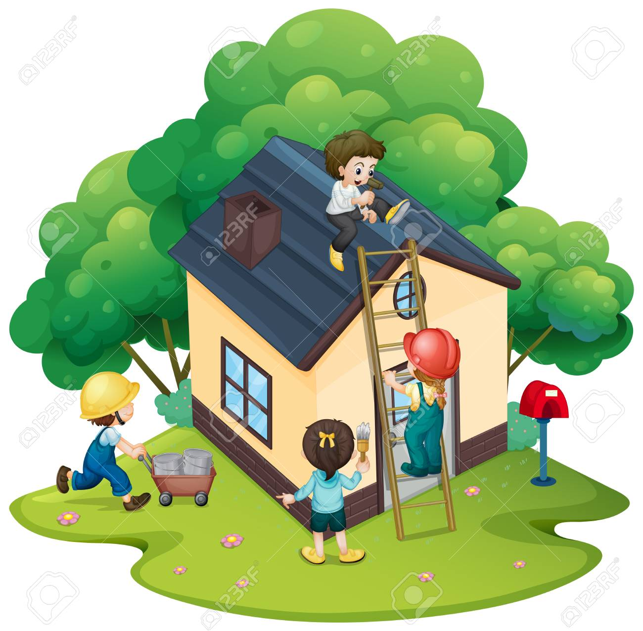 People building house together illustration.