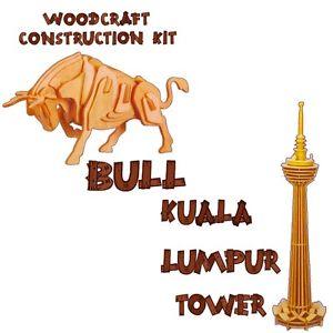 Woodcraft Construction Kit KUALA LUMPUR & BULL Wooden Model.