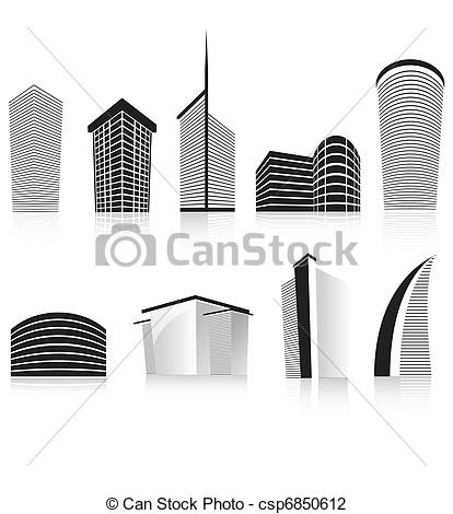 Clip Art of black office business building modern architecture.