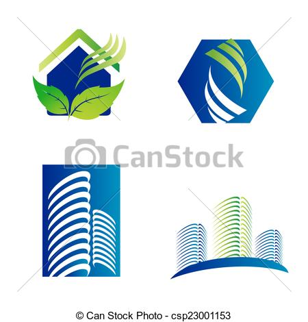 Clipart Vector of Building construction architecture company logo.
