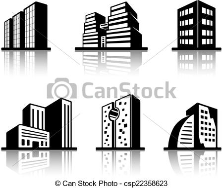 Vector Illustration of Set of black and white building icons.