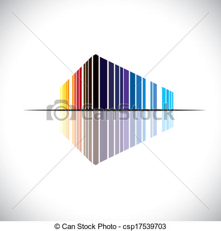 Vector Clipart of Colorful abstract icon of a commercial building.
