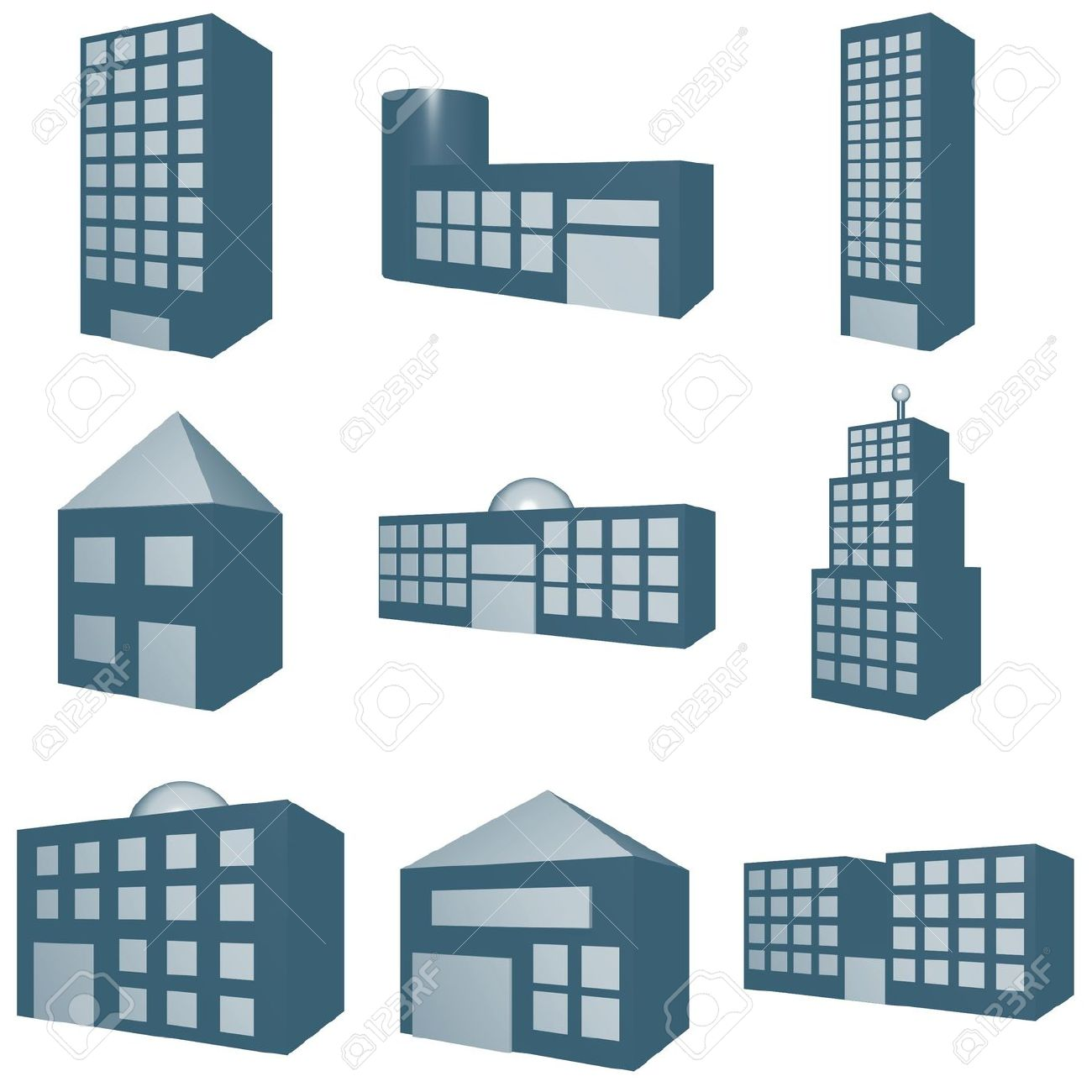 A Set Of Architecture Type Clip Art In 3d Blue Stock Photo.