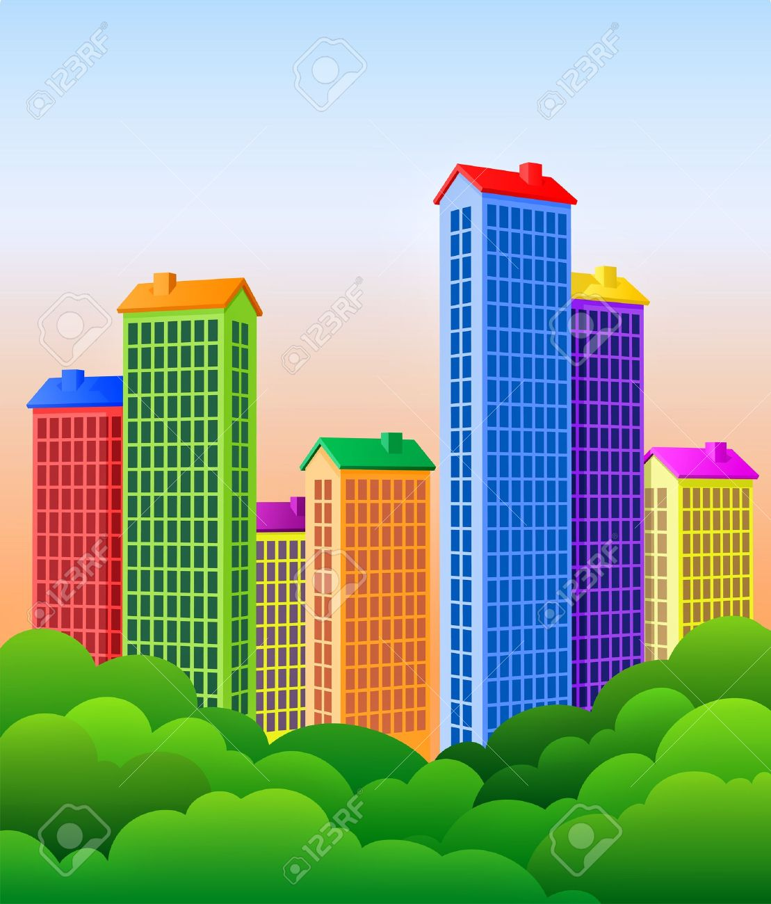 Beautiful City. Colorful Buildings And Park Trees! Royalty Free.