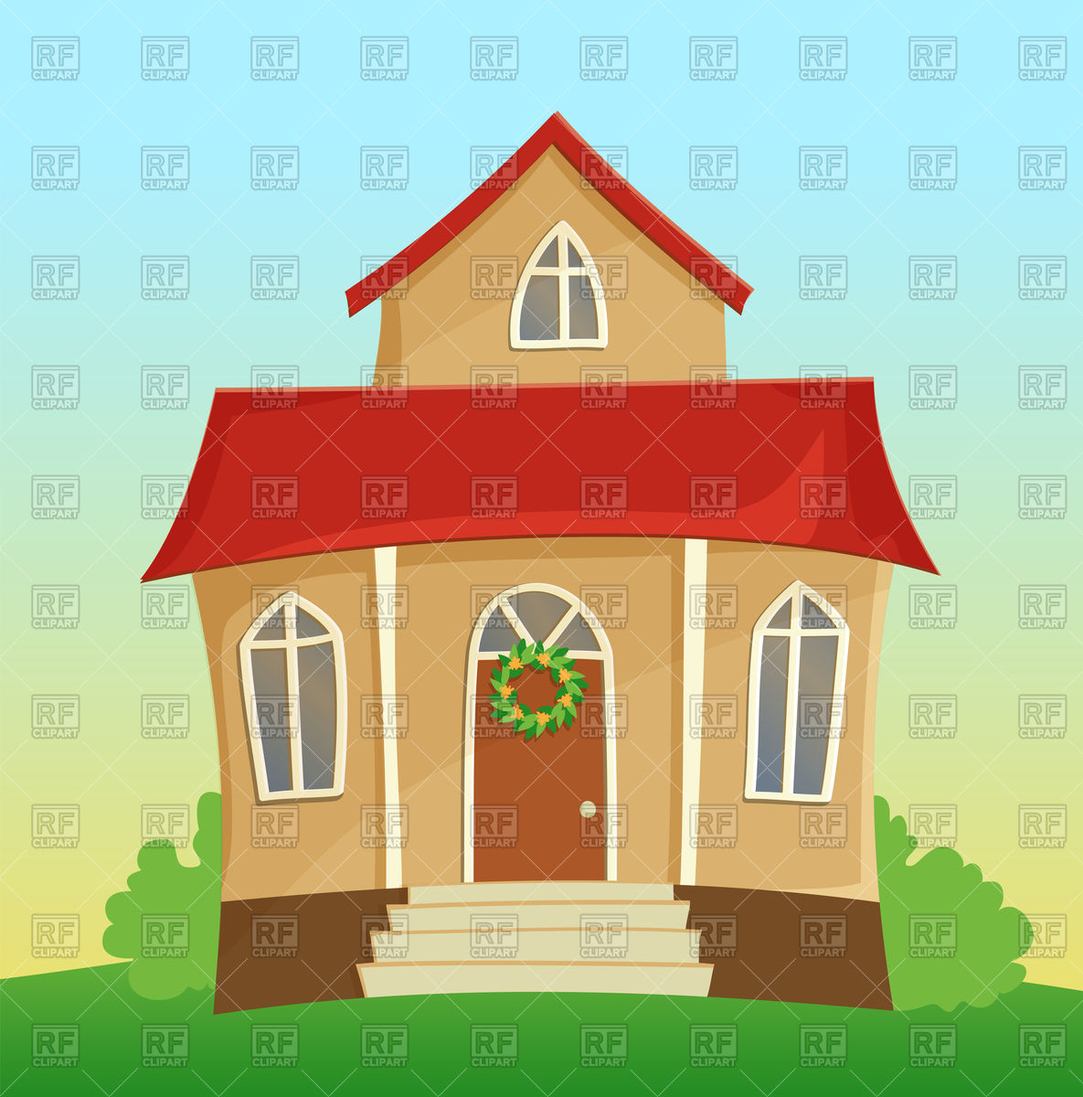 Beautiful suburban cartoon house with red roof Vector Image #88628.