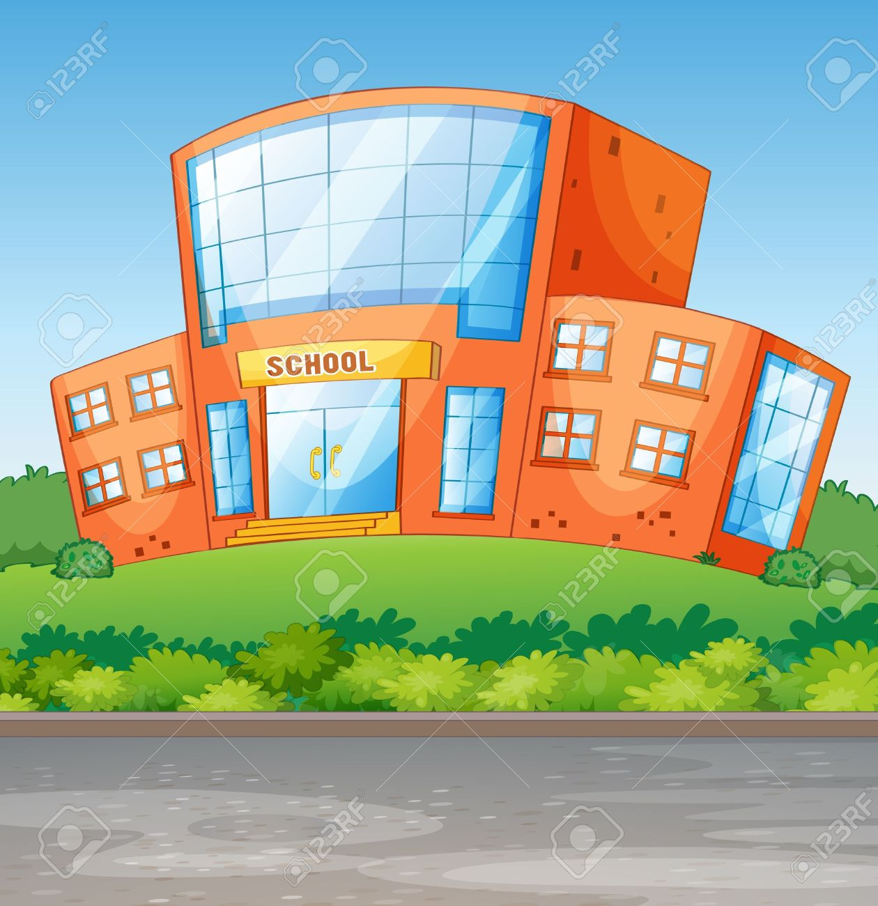 Illustration Of A School Building In A Beautiful Nature Royalty.