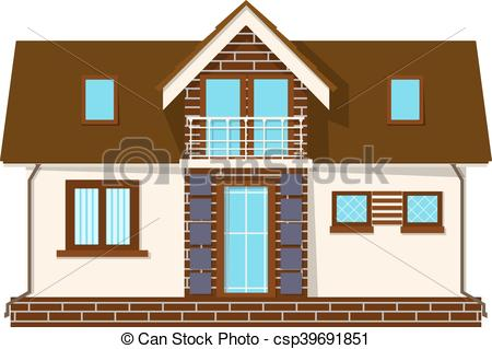 Clipart Vector of Beautiful small house with a loft, balcony.