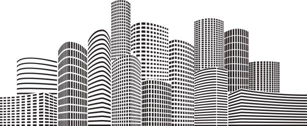 Best Black And White Building Illustrations, Royalty.