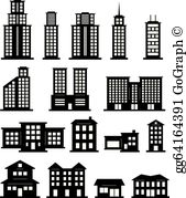 Black And White Building Clip Art.