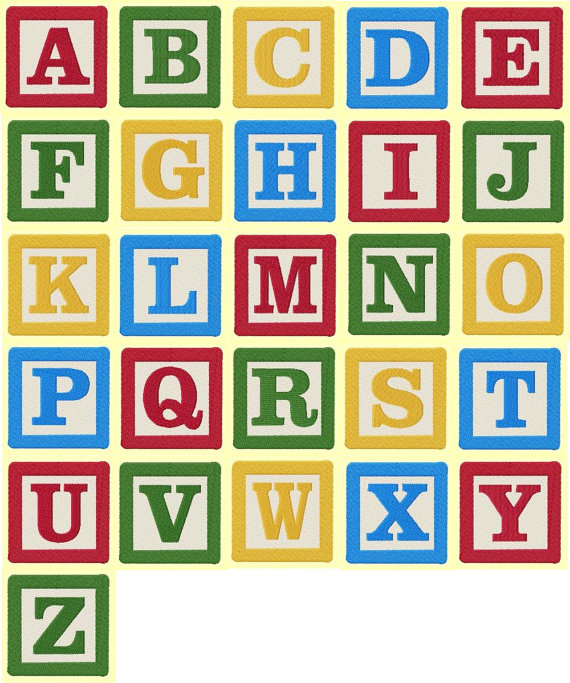 4 inch Building Block Letters and Numbers Machine Embroidery Designs.