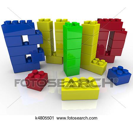 Build Word in Toy Building Blocks Clip Art.