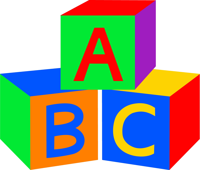 Alphabet building blocks clipart.