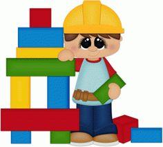 Kids building blocks clipart.