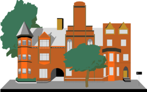 Cartoon Building With Trees PNG, SVG Clip art for Web.