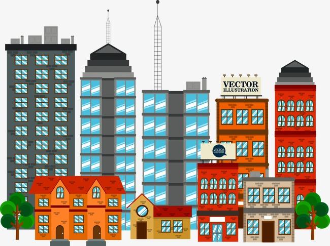 Cartoon City Building, Cartoon Vector, City Vector, Building Vector.