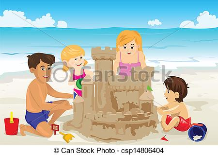 Vector Clipart of Family building sand castle.