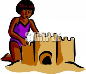 Girl Building a Sand Castle.