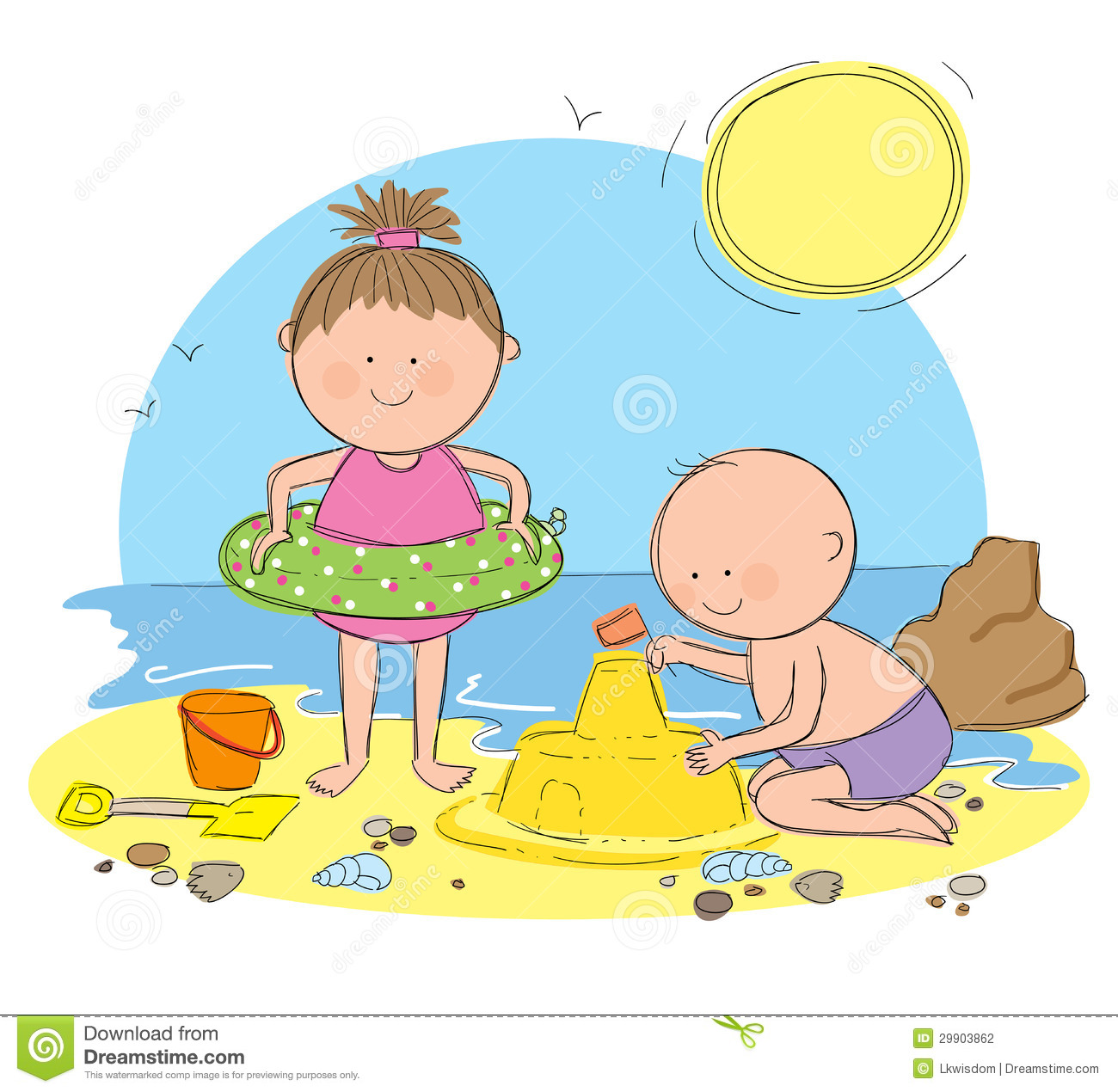 Adorable Little Girl Playing With Beach Toys During: Play Castle Clipart 20 Free Cliparts