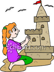 Girl Building a Sand Castle on the Beach Royalty Free Clipart Picture.