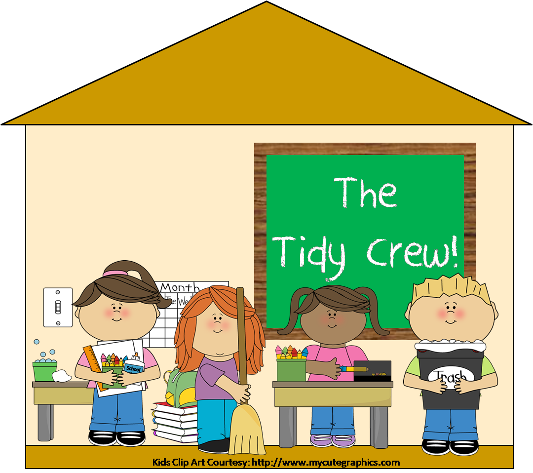 Free clipart of students cleaning up a classroom.