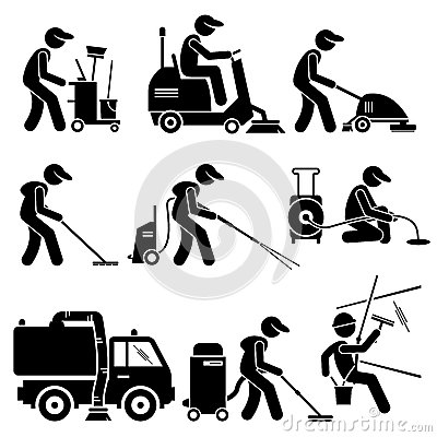 Industrial Cleaning Worker With Tools And Equipment Clipart Stock.