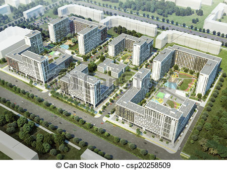 Stock Illustration of Residential complex.