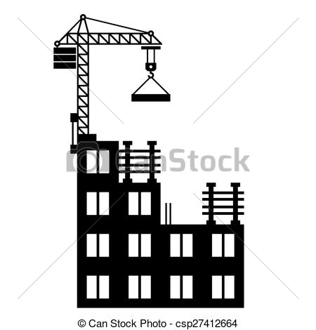 Clip Art Vector of Building Construction with Crane on White.