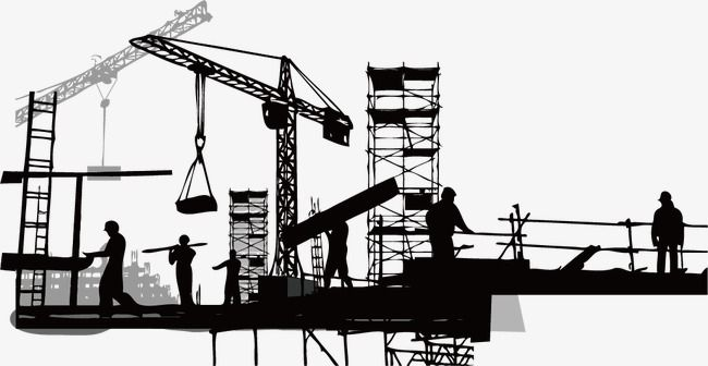Construction Silhouette, Sketch, Building, Silhouette Figures PNG.