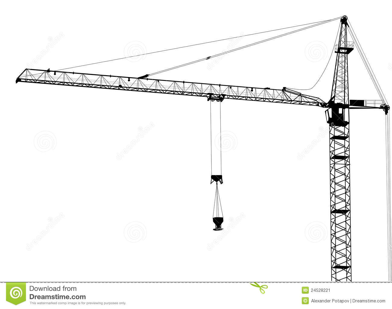 Single Isolated Building Crane Royalty Free Stock Photography.