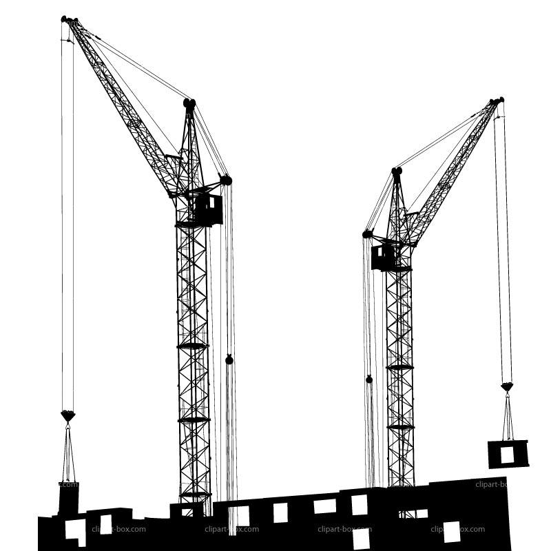 CLIPART CRANE BUILDING BLACK AND WHITE.
