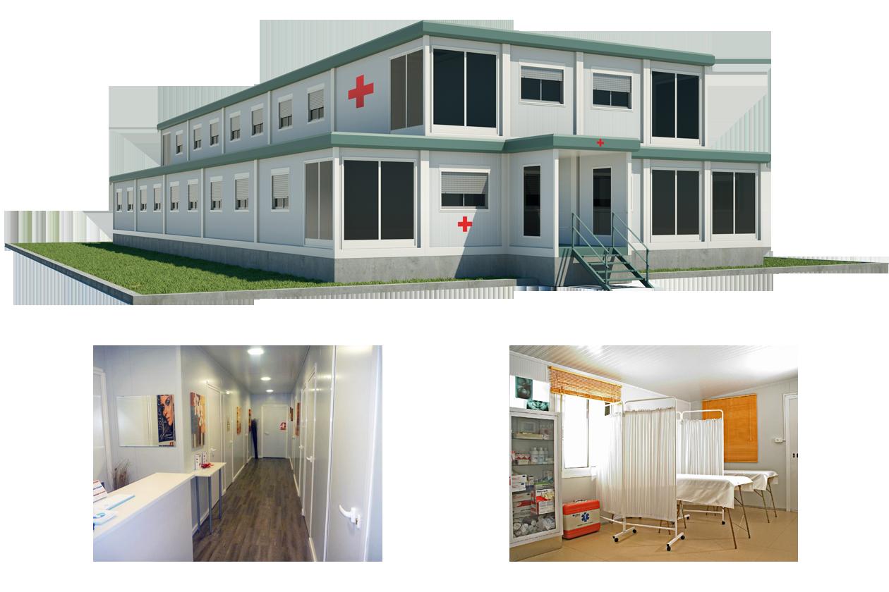 Modular hospital buildings.