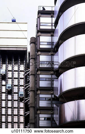 Stock Photography of Lloyds of London Building exterior detail.