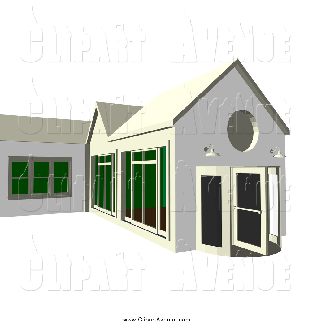 Avenue Clipart of a 3d Building Exterior with Floor to Ceiling.