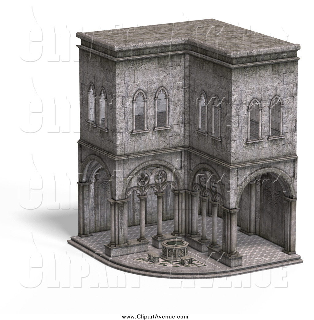 Avenue Clipart of a 3d Medieval Cloister Building Exterior by.